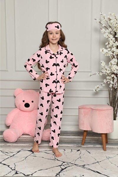 Kız Çocuk Pembe Papyonlu Tavşan Desenli Pijama Takımı