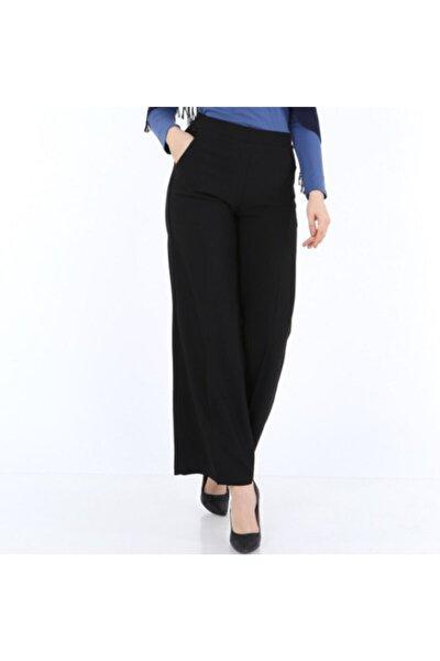 Büyük Beden Siyah Beli Lastikli Ve Cepli Bol Paça Kadın Pantolon