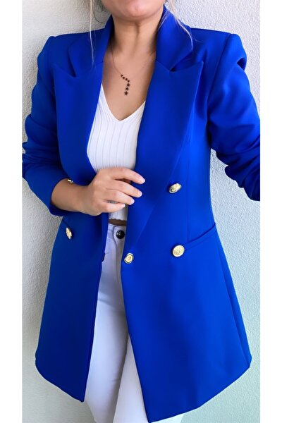 Kadın Saks Mavi Uzun Gold Düğmeli Blazer Ceket Koyu