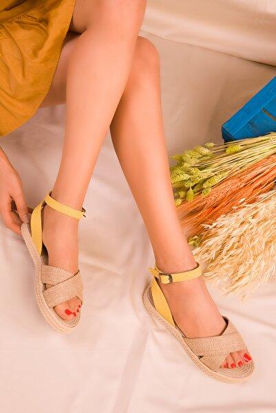 Hasır-Sarı Kadın Sandalet 14663