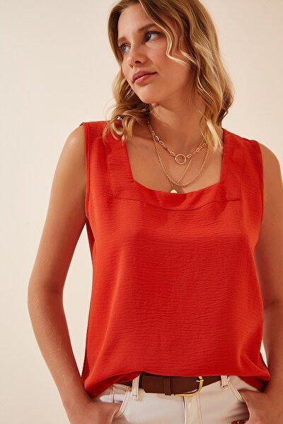 Kadın Oranj Kare Yaka Dökümlü Ayrobin Bluz DD00961