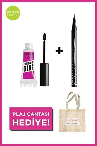 Epic Ink Siyah Eyeliner & The Brow Glue Kaş Sabitleyici Maskara & Plaj Çantası