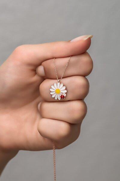 925 Ayar Gümüş Rose Uğur Böceği Papatya Kolye