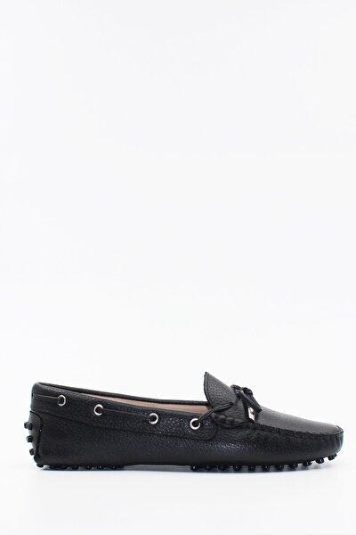 Hakiki Deri Siyah Kadın Loafer Ayakkabı