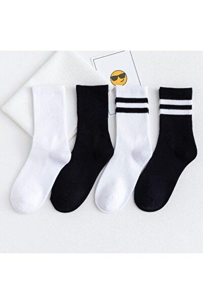 6' Lı Paket Siyah-beyaz Çizgili -çizgisiz Pamuklu Kolej Tenis Çorap