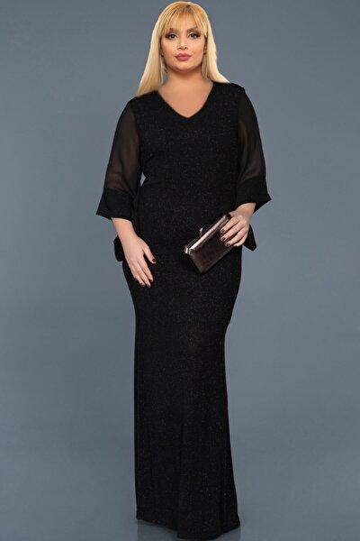 Kadın Siyah Büyük Beden Kolu Şifon Simli Abiye Elbise