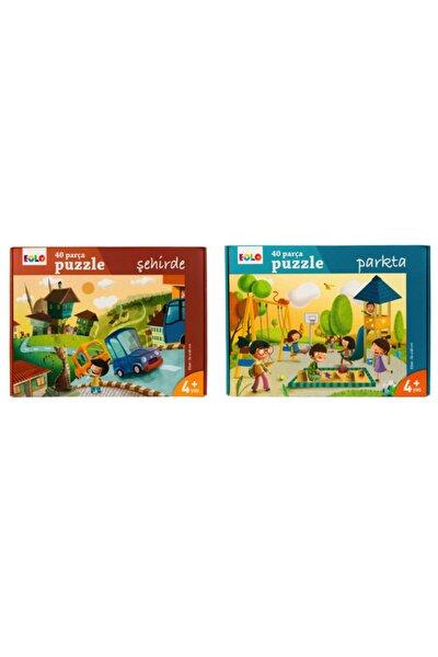 Yer Puzzle 40 Parça 2 Li Set ( Şehirde - Parkta )
