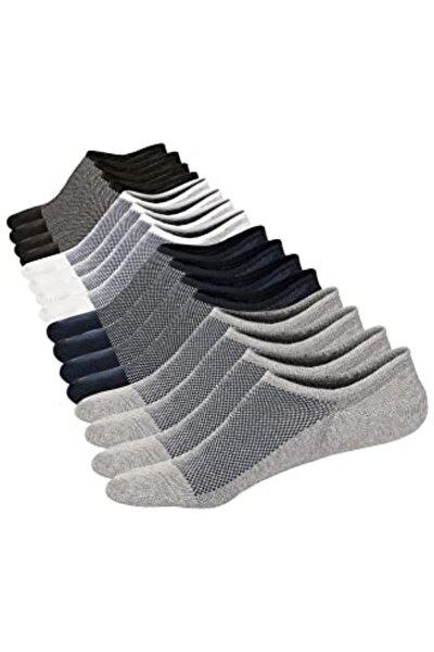 Erkek Gri Dikişsiz Görünmez 8'li Pamuklu Sneakers Çorap