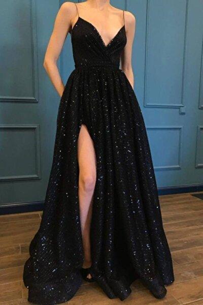 Kadın Siyah Trend Pulpayet Uzun Abiye Elbise