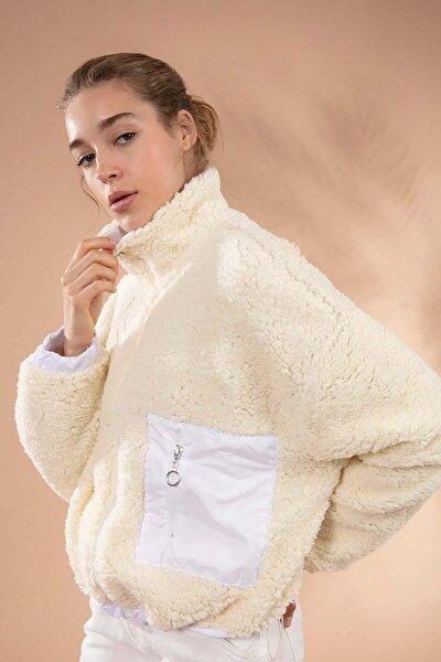 Kadın Bej Önü Fermuarlı Cepli Kuzu Ceket Y19W127-10420