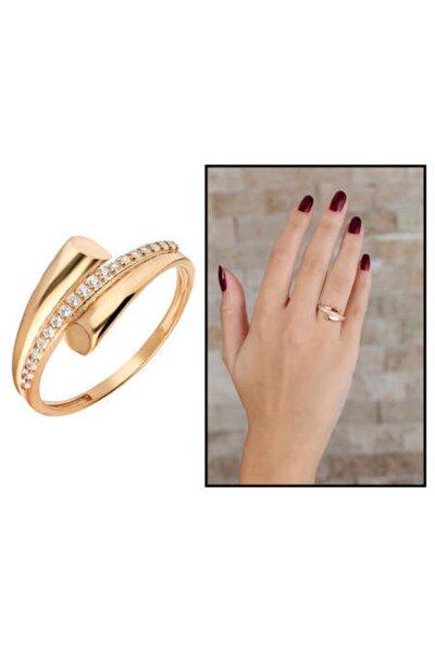 Kadın Rose Renk Zirkon Taşlı Helezon Tasarım 925 Ayar Gümüş Yüzük