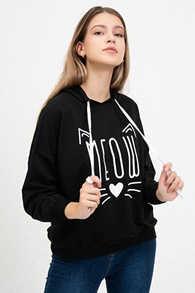 Kadın Siyah Meow Baskılı Sweatshirt