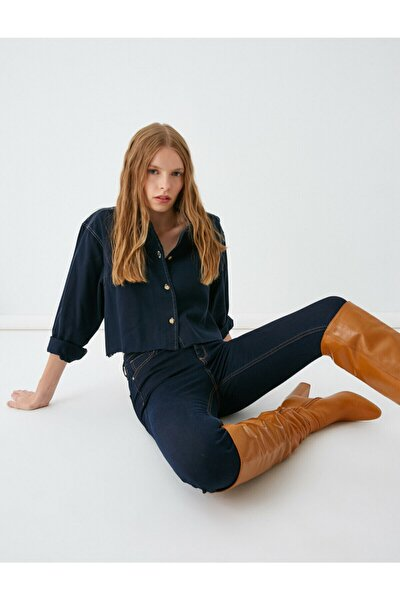 Kadın Orta Indigo Jeans TYC00042435228