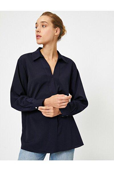 Kadın Lacivert Gömlek Yaka Uzun Kollu Bluz