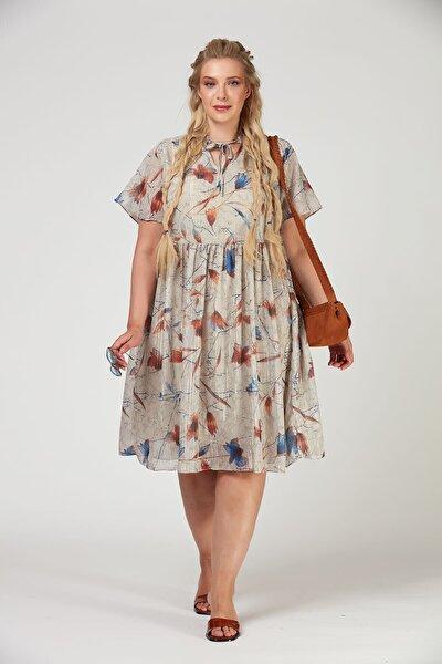Kadın Simli Çiçekli Büyük Beden Şifon Elbise
