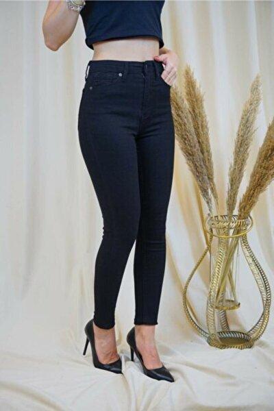 Kadın Siyah Yüksek Bel Keten Pantolon