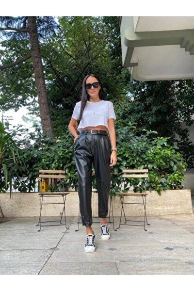 Kadın Siyah Paça Çıtçıt Detay Yüksek Bel Suni Deri Pantolon