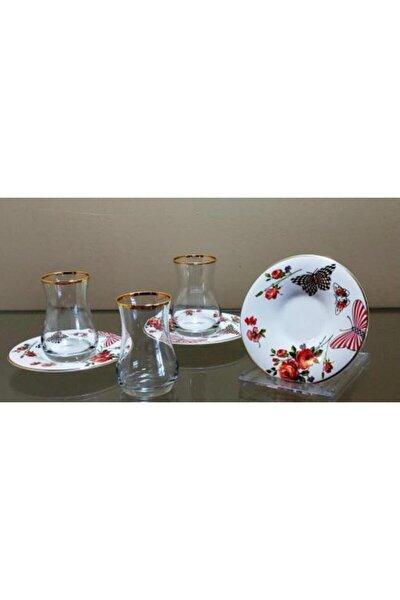 Homechic Carat Çay Seti 6 Kişilik Çiçek Desen 3
