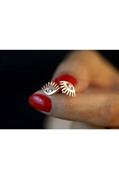 Kadın Rose 925 Ayar Gümüş Zirkon Taşlı Küpe