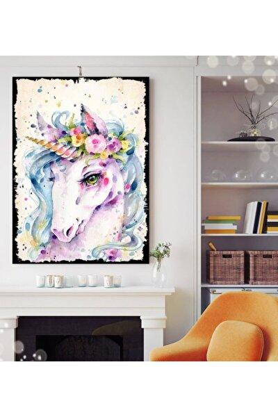 Unicorn Hayvan Tasarım 35x50cm Hediyelik Dekoratif 8mm Ahşap Tablo