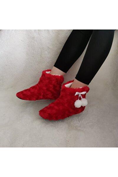 Kadın Kırmızı Ponponlu Ev Botu Ve Panduf