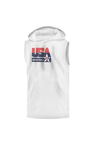 Erkek Beyaz Team U.S.A Sleeveless Baskılı T-shirt