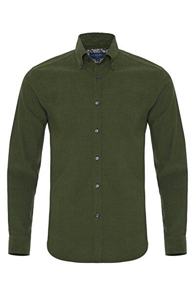 Erkek Yeşil Kadife Düğmeli Yaka Tailor Fit Gömlek