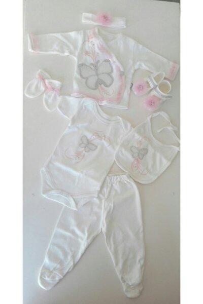 Kız Bebek Beyaz Yeni Doğan Hastane Çıkış Seti Bebek Zıbın