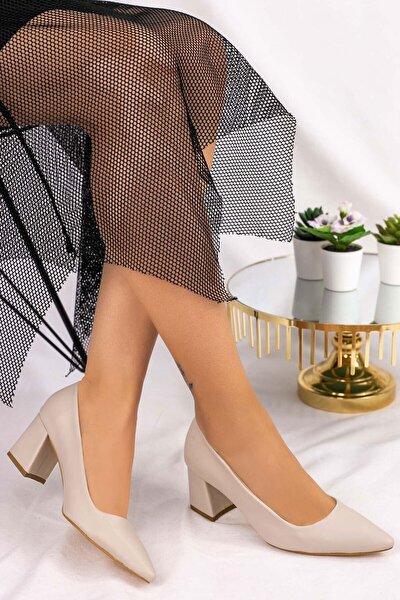 Kadın Krem Cilt Topuklu Topuklu Ayakkabı