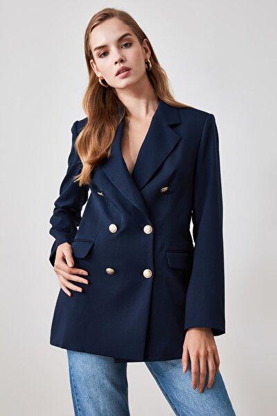 Lacivert Düğme Detaylı Blazer Ceket TWOSS20CE0024