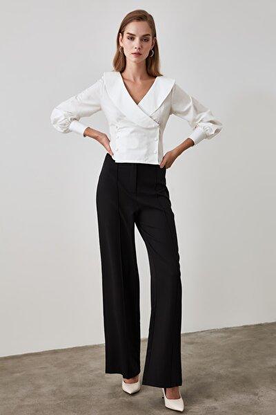 Siyah Dökümlü Rahat ve Şık Pantolon TWOSS20PL0150