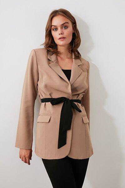 Bej Beli Kuşaklı  Blazer Ceket TWOSS20CE0050