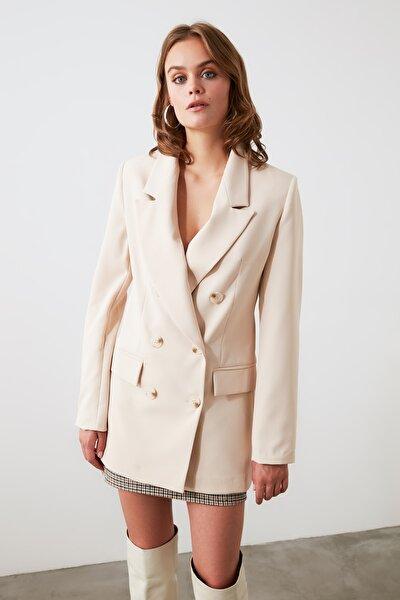 Bej Düğmeli Blazer Ceket TWOAW20CE0130