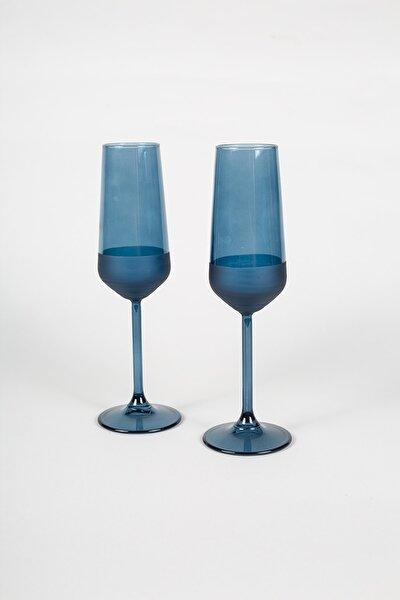 Matte 2'li Şampanya Kadehi Seti Mavi 195 cc
