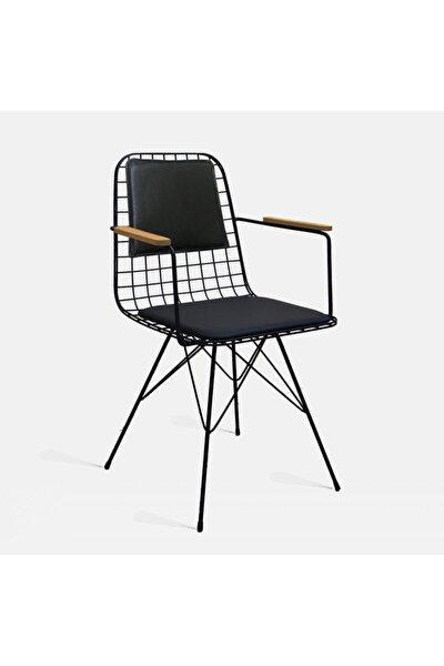 Tel Sandalye Kolçaklı Ve Sırt Minderli Siyah