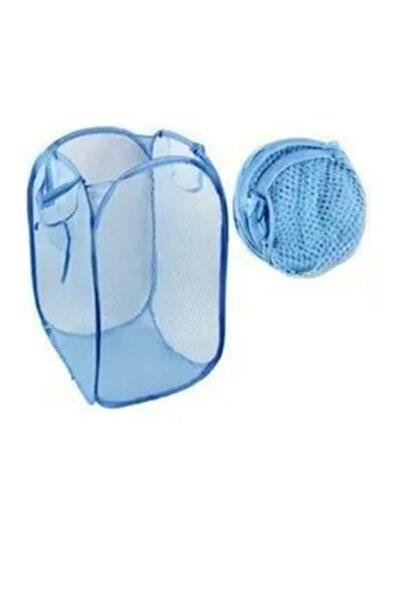 Oyuncak Ve Çamaşır Saklama Selesi Pratik Katlanabilir Çok Amaçlı File Sepet (mavi)