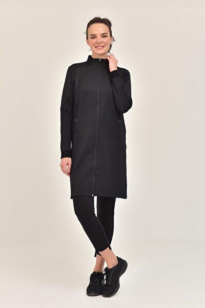 Siyah Kadın Uzun Ceket GS-1516