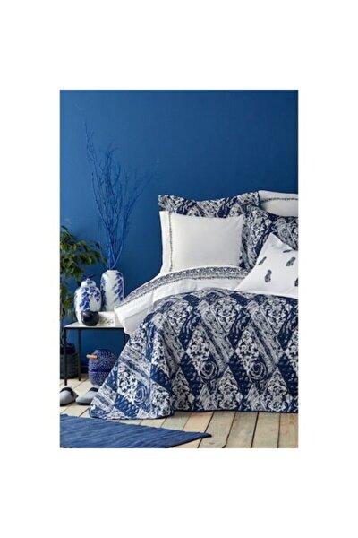 Urla Mavi Çift Kişilik Nakışlı Nevresim Ve Yatak Örtüsü