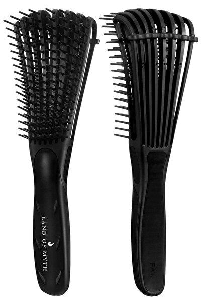 Yeni Nesil Dolaşık Saç Açma Tarama Fırçası, Ahtapot Dizayn, Esnek Dişler, Kıvırcık Saç Tarağı -siyah