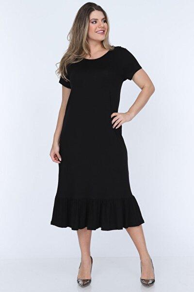 Siyah Fırfırlı Elbise 11b-0703