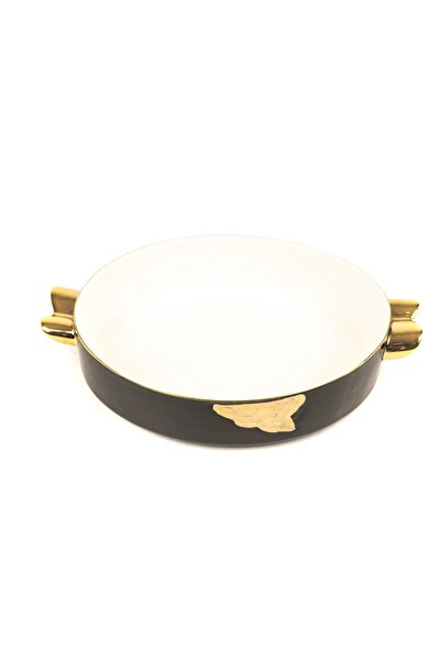 Siyah Oval Porselen Servis 27x18cm
