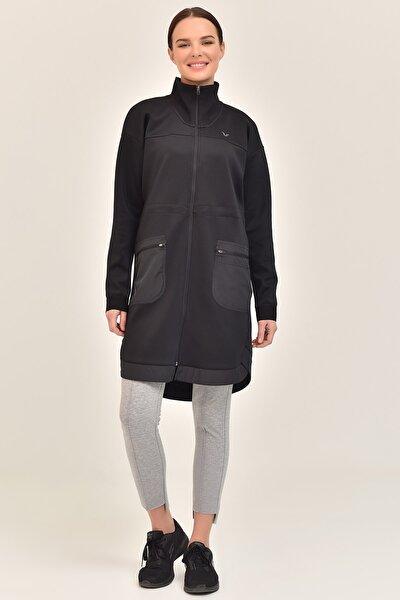 Siyah Kadın Uzun Ceket GS-1521