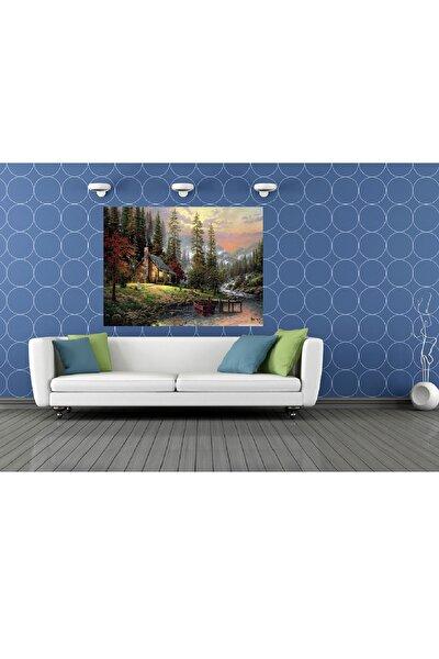 Orman Evi Manzaralı Resmi Kanvas Tablo 70x100 Cm