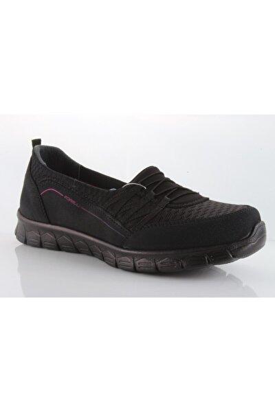 Streç Siyah Kadın Spor Ayakkabı 61014