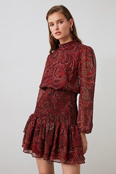 Çok Renkli Volanlı Gipe Detaylı Elbise TWOAW21EL1776