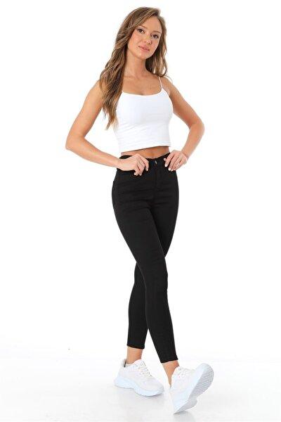 Kadın Siyah Beş Cepli Yüksek Bel Pantolon