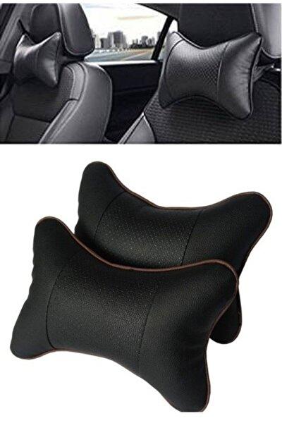 Deri Araç Boyun Yastığı 2 Adet (siyah)