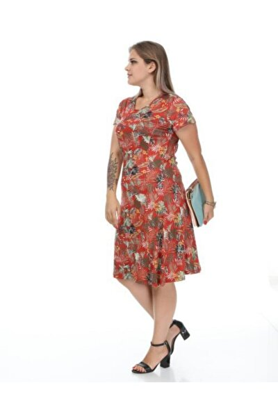 Kadın Dizaltı Viskon Elbise