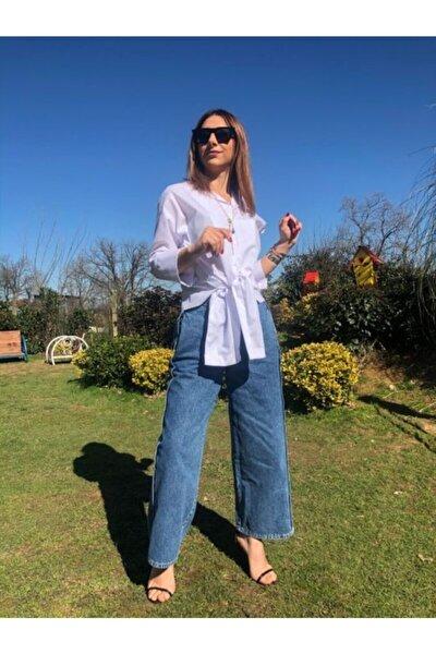 Kadın Buz Mavisi Geniş Salaş Kesim Jean Kot Pantolon