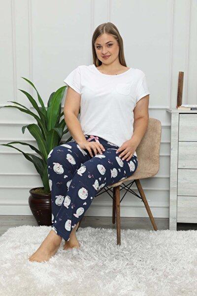 Kadın Lacivert Desenli Mevsimlik Büyük Beden Pijama Altı